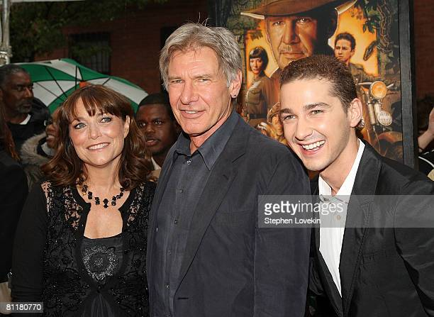Actors Karen Allen Harrison Ford and Shia LaBeouf attend the New York premiere of 'Indiana Jones and the Kingdom of the Crystal Skull' at the AMC...