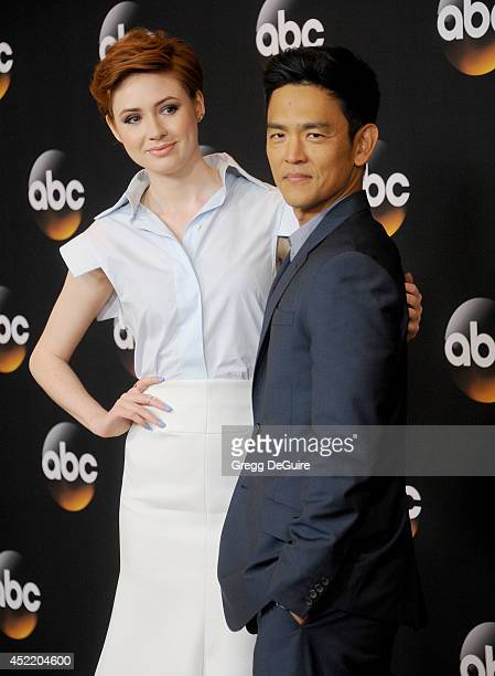 Actors Karen Gillan and John Cho arrive at the 2014 Television Critics Association Summer Press Tour Disney/ABC Television Group at The Beverly...