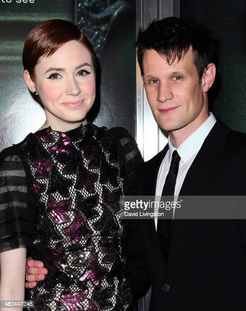 Actors Karen Gillan and Matt Smith attend a screening of Relativity Media's 'Oculus' at TCL Chinese 6 Theatres on April 3 2014 in Hollywood California