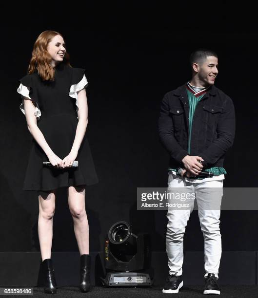 Actors Karen Gillan and Nick Jonas speak onstage during the CinemaCon 2017 Gala Opening Night Event Sony Pictures Highlights its 2017 Summer and...