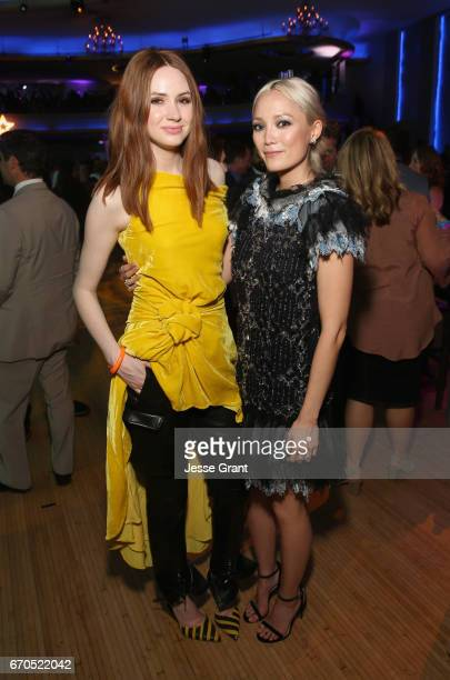 """Actors Karen Gillan and Pom Klementieff at The World Premiere of Marvel Studios' """"Guardians of the Galaxy Vol 2"""" at Dolby Theatre in Hollywood CA..."""