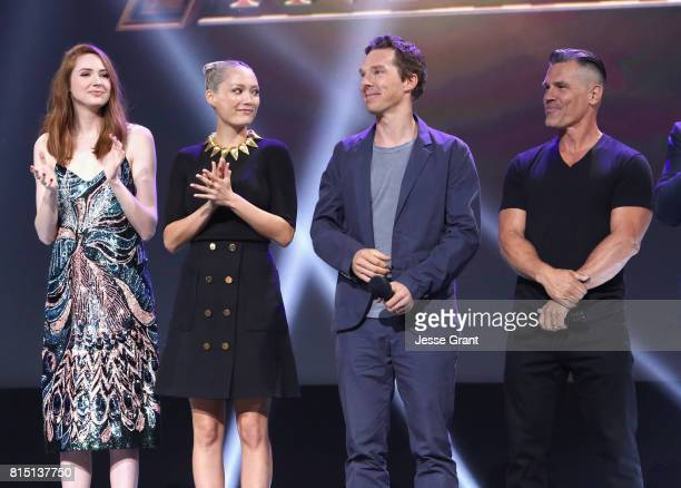 Actors Karen Gillan Pom Klementieff Benedict Cumberbatch and Josh Brolin of AVENGERS INFINITY WAR took part today in the Walt Disney Studios live...