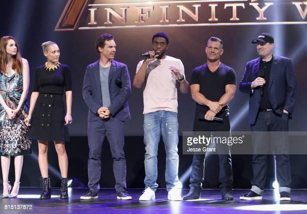 Actors Karen Gillan Pom Klementieff Benedict Cumberbatch Chadwick Boseman and Josh Brolin and producer Kevin Feige of AVENGERS INFINITY WAR took part...