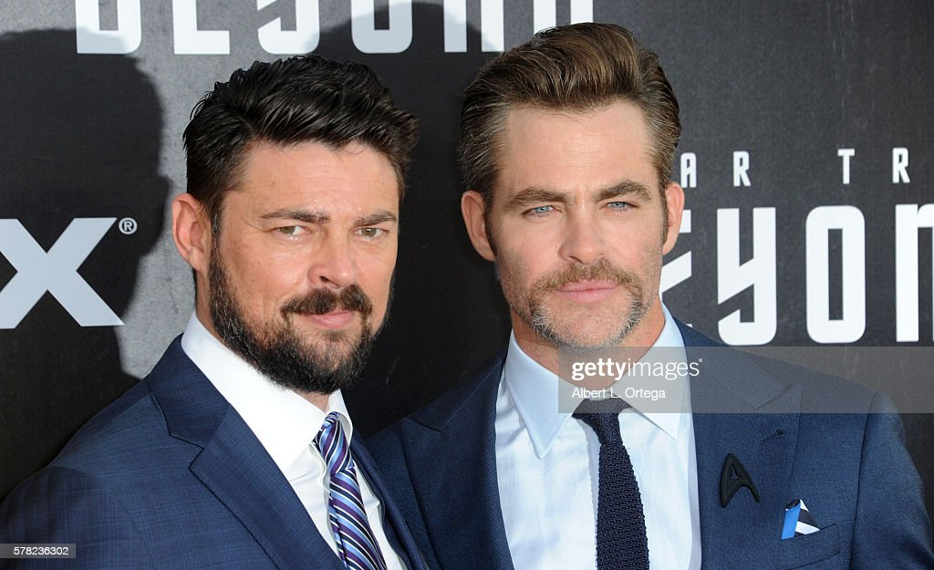 Actors Karl Urban and Chris Pine arrive for the Premiere Of Paramount Pictures' 'Star Trek Beyond' held at Embarcadero Marina Park South on July 20, 2016 in San Diego, California.
