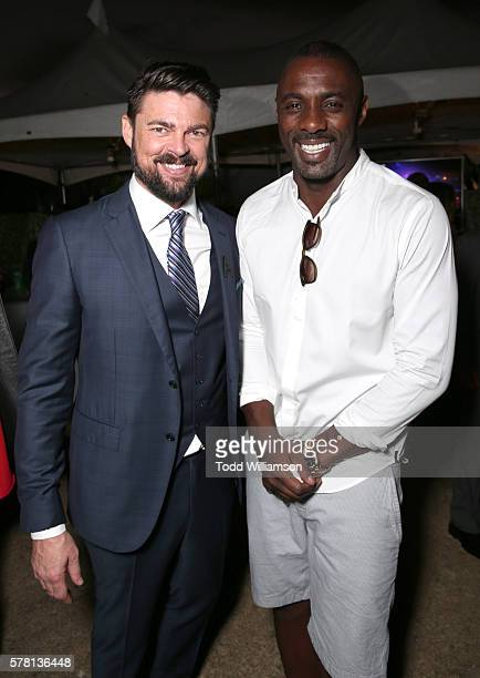 Actors Karl Urban and Idris Elba attend the premiere of Paramount Pictures' 'Star Trek Beyond' at Embarcadero Marina Park South on July 20 2016 in...