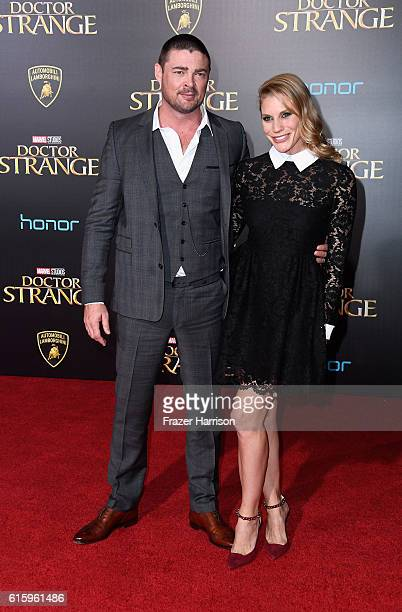 Actors Karl Urban and Katee Sackhoff attend the Premiere of Disney and Marvel Studios' 'Doctor Strange' on October 20 2016 in Hollywood California