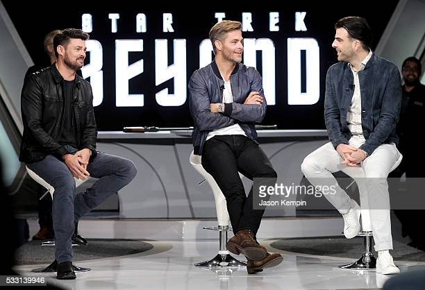 Actors Karl Urban Chris Pine and Zachary Quinto attend the Star Trek Beyond Fan Event at Paramount Pictures Studios on May 20 2016 in Hollywood...