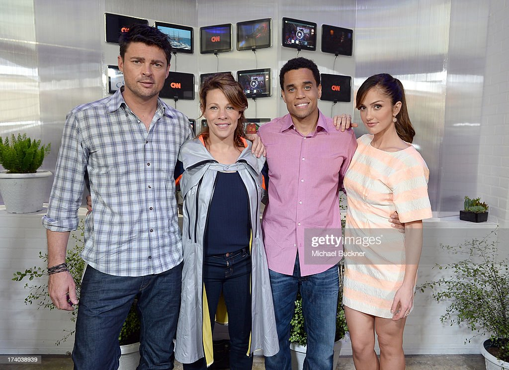 Actors <a gi-track='captionPersonalityLinkClicked' href=/galleries/search?phrase=Karl+Urban&family=editorial&specificpeople=2139847 ng-click='$event.stopPropagation()'>Karl Urban</a>, <a gi-track='captionPersonalityLinkClicked' href=/galleries/search?phrase=Lili+Taylor&family=editorial&specificpeople=693682 ng-click='$event.stopPropagation()'>Lili Taylor</a>, <a gi-track='captionPersonalityLinkClicked' href=/galleries/search?phrase=Michael+Ealy&family=editorial&specificpeople=227370 ng-click='$event.stopPropagation()'>Michael Ealy</a> and <a gi-track='captionPersonalityLinkClicked' href=/galleries/search?phrase=Minka+Kelly&family=editorial&specificpeople=632847 ng-click='$event.stopPropagation()'>Minka Kelly</a> from the cast of 'Almost Human' attend Day 2 of The Samsung Galaxy Experience on July 19, 2013 in San Diego, California.
