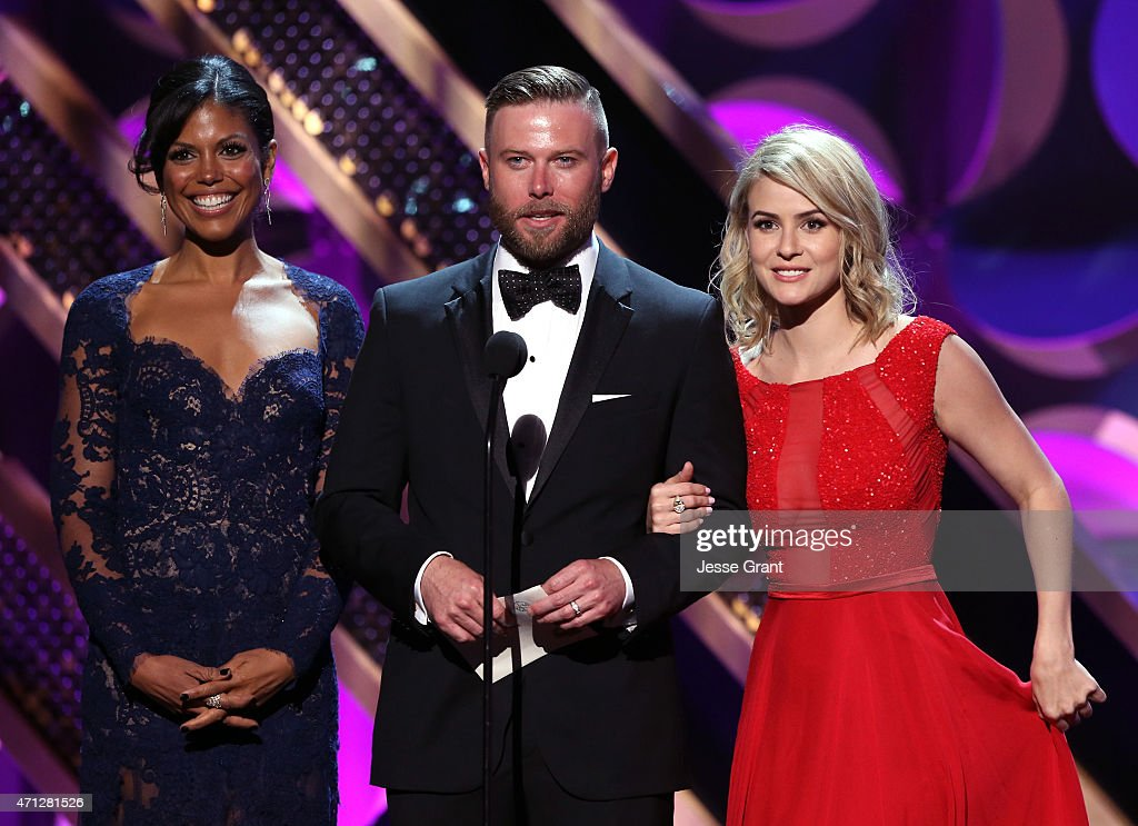 Actors Karla Mosley Jacob Young and Linsey Godfrey onstage during The 42nd Annual Daytime Emmy Awards at Warner Bros Studios on April 26 2015 in...