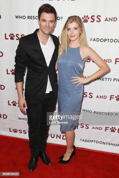 Actors Kash Hovey and Victoria Jacobsen attends the Premiere Of Mancinetti's 'Loss And Found' at The Downtown Independent on October 9 2017 in Los...