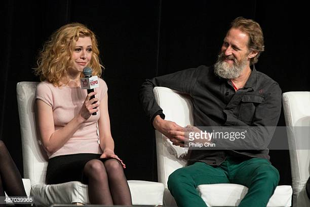 Actors Kasha Kropinski and Christopher Heyerdahl participate in the 'Hell on Wheels' panel discussion at the Expo Pavillion during the Calgary Expo/...