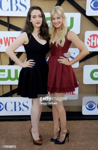 Actors Kat Dennings and Beth Behrs arrive at the CBS/CW/Showtime Television Critic Association's summer press tour party at 9900 Wilshire Blvd on...