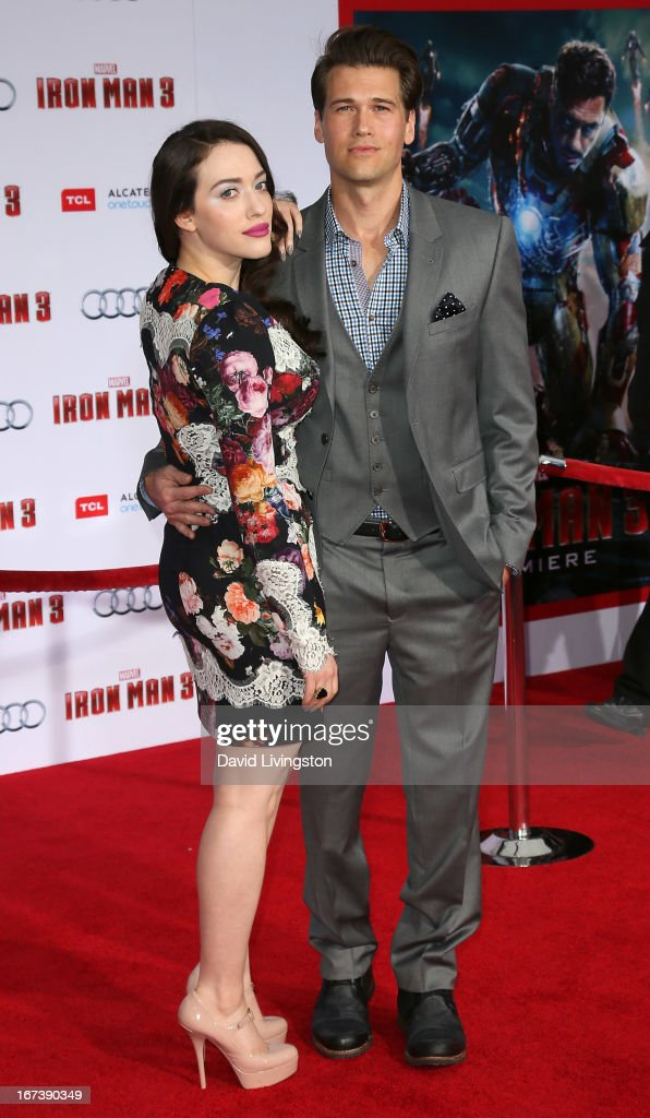 Actors Kat Dennings (L) and Nick Zano attend the premiere of Walt Disney Pictures' 'Iron Man 3' at the El Capitan Theatre on April 24, 2013 in Hollywood, California.
