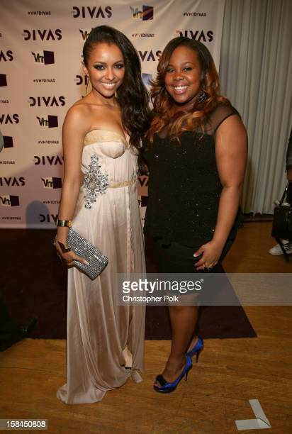 Actors Kat Graham and Amber Riley attend 'VH1 Divas' 2012 at The Shrine Auditorium on December 16 2012 in Los Angeles California