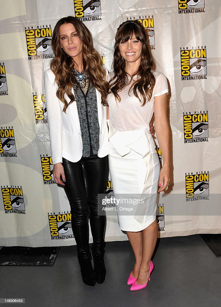 Actors Kate Beckinsale and Jessica Biel attend Sony's 'Total Recall' panel during Comic-Con International 2012 at San Diego Convention Center on July 13, 2012 in San Diego, California.