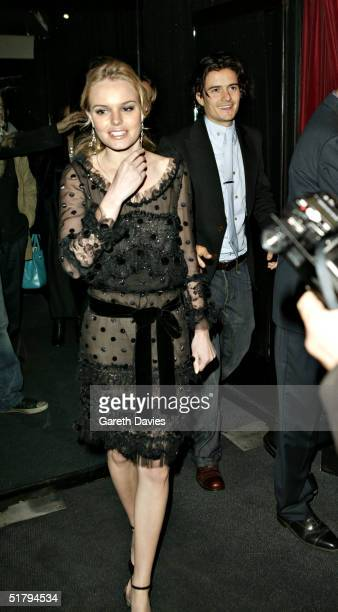 Actors Kate Bosworth and boyfriend Orlando Bloom attend the aftershow party where Kevin Spacey sung 8 songs from the movie soundtrack following the...