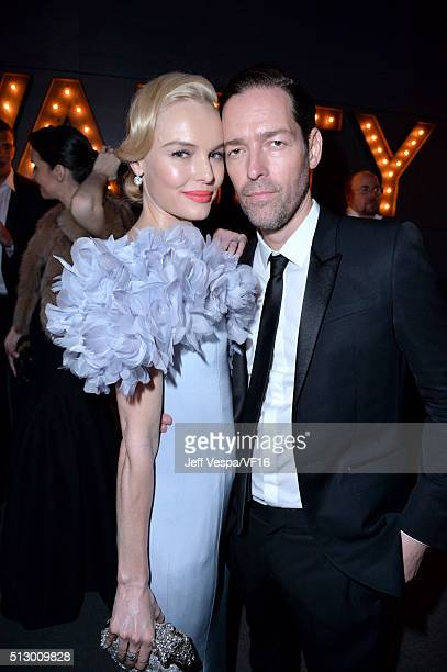 Actors Kate Bosworth and Michael Polish attend the 2016 Vanity Fair Oscar Party Hosted By Graydon Carter at the Wallis Annenberg Center for the...