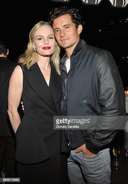 Actors Kate Bosworth and Orlando Bloom attend a cocktail event hosted by Dior Homme's Kris Van Assche at Chateau Marmont on September 24 2015 in Los...