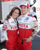 Actors Kate del Castillo and Jackson Rathbone attend the 2013 Toyota Pro/Celebrity Race press practice day on April 9 2013 in Long Beach California