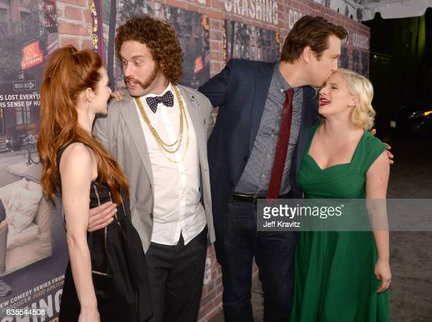 Actors Kate Gorney TJ Miller creator/Executive Producer Pete Holmes and Valerie Chaney attend HBO's 'Crashing' premiere and after party on February...