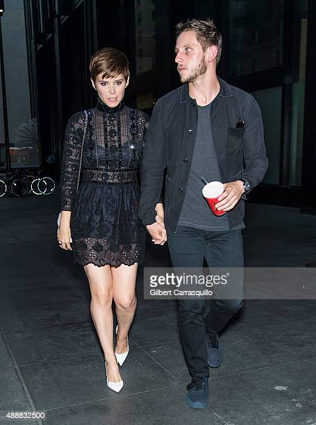 Actors Kate Mara and Jamie Bell are seen leaving the Marc Jacobs during Spring 2016 New York Fashion Week on September 17 2015 in New York City