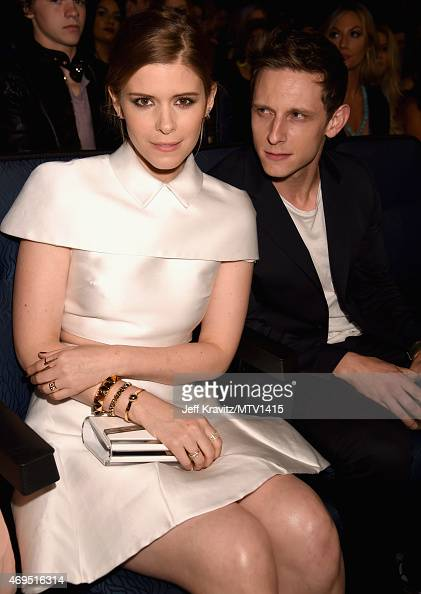 Actors Kate Mara and Jamie Bell attend The 2015 MTV Movie Awards at Nokia Theatre LA Live on April 12 2015 in Los Angeles California