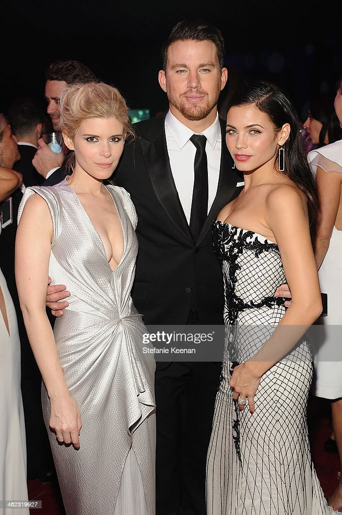 Actors <a gi-track='captionPersonalityLinkClicked' href=/galleries/search?phrase=Kate+Mara&family=editorial&specificpeople=544680 ng-click='$event.stopPropagation()'>Kate Mara</a>, <a gi-track='captionPersonalityLinkClicked' href=/galleries/search?phrase=Channing+Tatum&family=editorial&specificpeople=549548 ng-click='$event.stopPropagation()'>Channing Tatum</a>, and <a gi-track='captionPersonalityLinkClicked' href=/galleries/search?phrase=Jenna+Dewan-Tatum&family=editorial&specificpeople=7220442 ng-click='$event.stopPropagation()'>Jenna Dewan-Tatum</a> attend the 2014 InStyle And Warner Bros. 71st Annual Golden Globe Awards Post-Party at The Beverly Hilton Hotel on January 12, 2014 in Beverly Hills, California.