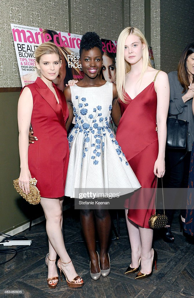 Actors <a gi-track='captionPersonalityLinkClicked' href=/galleries/search?phrase=Kate+Mara&family=editorial&specificpeople=544680 ng-click='$event.stopPropagation()'>Kate Mara</a>, <a gi-track='captionPersonalityLinkClicked' href=/galleries/search?phrase=Lupita+Nyong%27o&family=editorial&specificpeople=10961876 ng-click='$event.stopPropagation()'>Lupita Nyong'o</a> and <a gi-track='captionPersonalityLinkClicked' href=/galleries/search?phrase=Elle+Fanning&family=editorial&specificpeople=2189940 ng-click='$event.stopPropagation()'>Elle Fanning</a> attend Marie Claire Celebrates May Cover Stars on April 8, 2014 in West Hollywood, California.