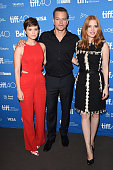 Actors Kate Mara Matt Damon and Jessica Chastain attend the 'The Martian' press conference at the 2015 Toronto International Film Festival at TIFF...