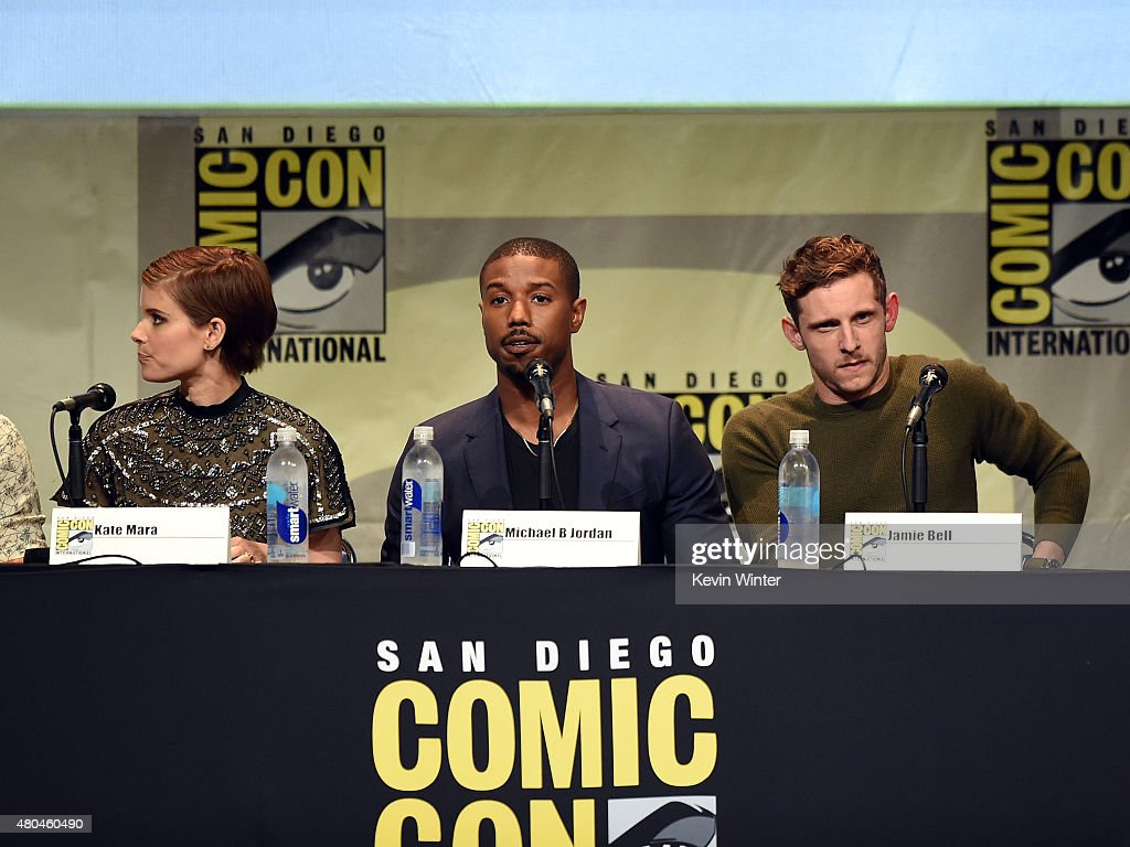 Actors Kate Mara Michael B Jordan and Jamie Bell speak onstage at the 20th Century FOX panel during ComicCon International 2015 at the San Diego...