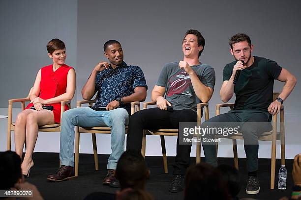 Actors Kate Mara Michael B Jordan Miles Teller and Jamie Bell attend Apple Store Soho Presents Meet the Actors Miles Teller Kate Mara Michael B...