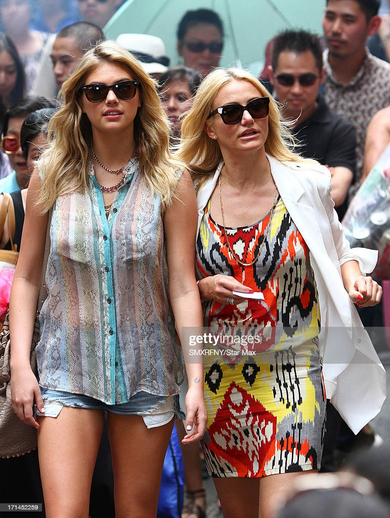 Actors Kate Upton and Cameron Diaz on the set of 'The Other Woman' as seen on June 21, 2013 in New York City.