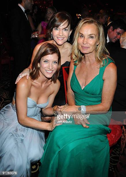 Actors Kate Walsh Rachael Harris and Jessica Lange attends HBO's post Emmy Awards reception at the Pacific Design Center on September 20 2009 in West...