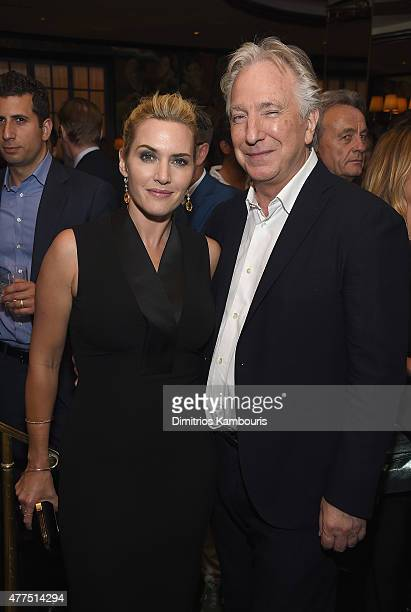 Actors Kate Winslet and Alan Rickman attend the New York Premiere after party of 'A Little Chaos' at Monkey Bar on June 17 2015 in New York City