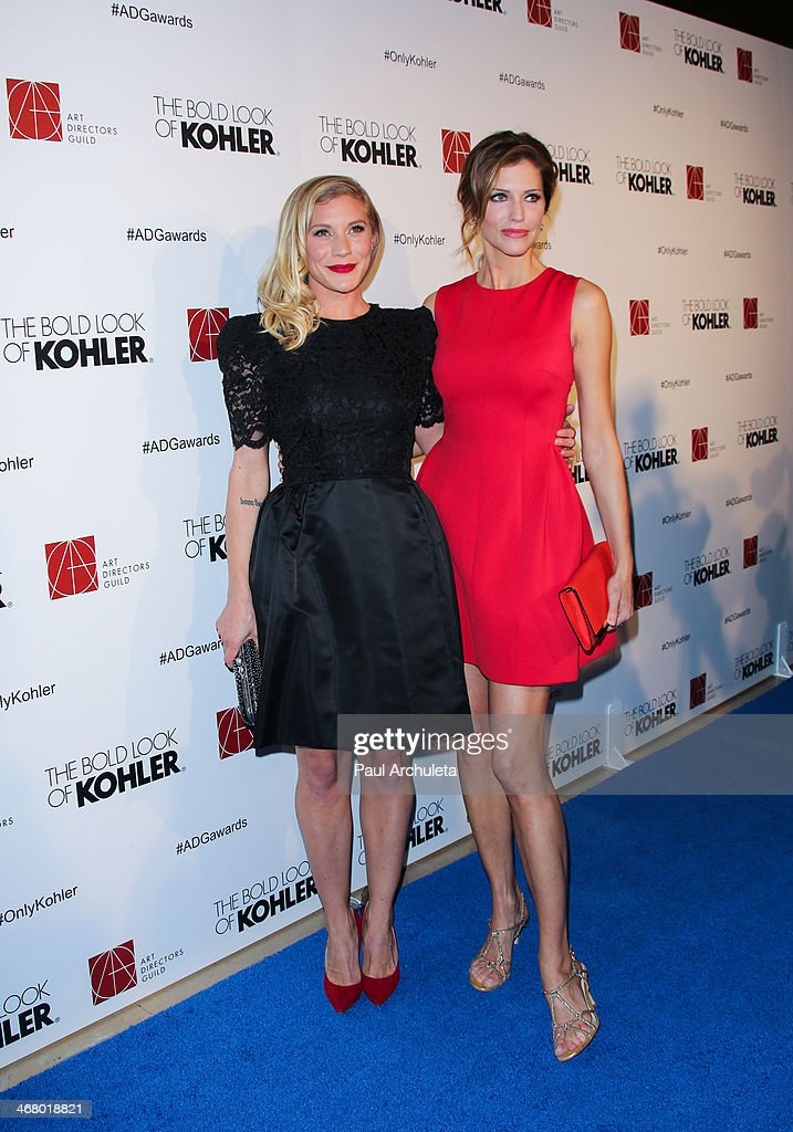 Actors Katee Sackhoff (L) and Tricia Helfer (R) attend the 18th Annual Art Directors Guild Excellence In Production Design Awards at The Beverly Hilton Hotel on February 8, 2014 in Beverly Hills, California.