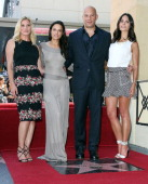 Actors Katee Sackhoff Michelle Rodriguez Vin Diesel and Jordanna Brewster during the ceremony honoring actor Vin Diesel on The Hollywood Walk of Fame...
