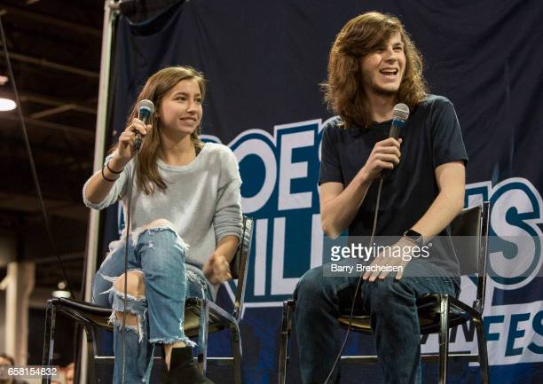 Actors Katelyn Nacon and Chandler Riggs during the Walker Stalker Con Chicago at the Donald E Stephens Convention Center on March 26 2017 in Rosemont...