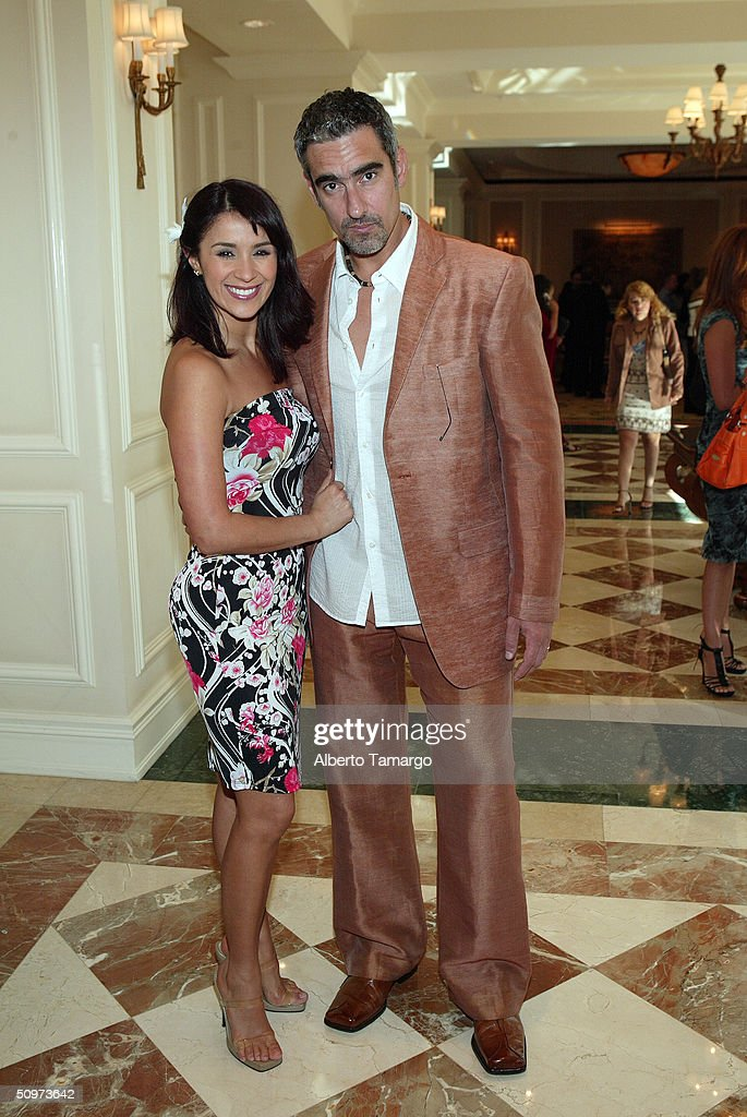 Actors Katerine Siachoque and Miguel Varoni pose at The Ritz Carlton Hotel in Coconut Grove where Telemundo network's new 2004-2005 program line up was revealed June 17, 2004 in Miami, Florida.