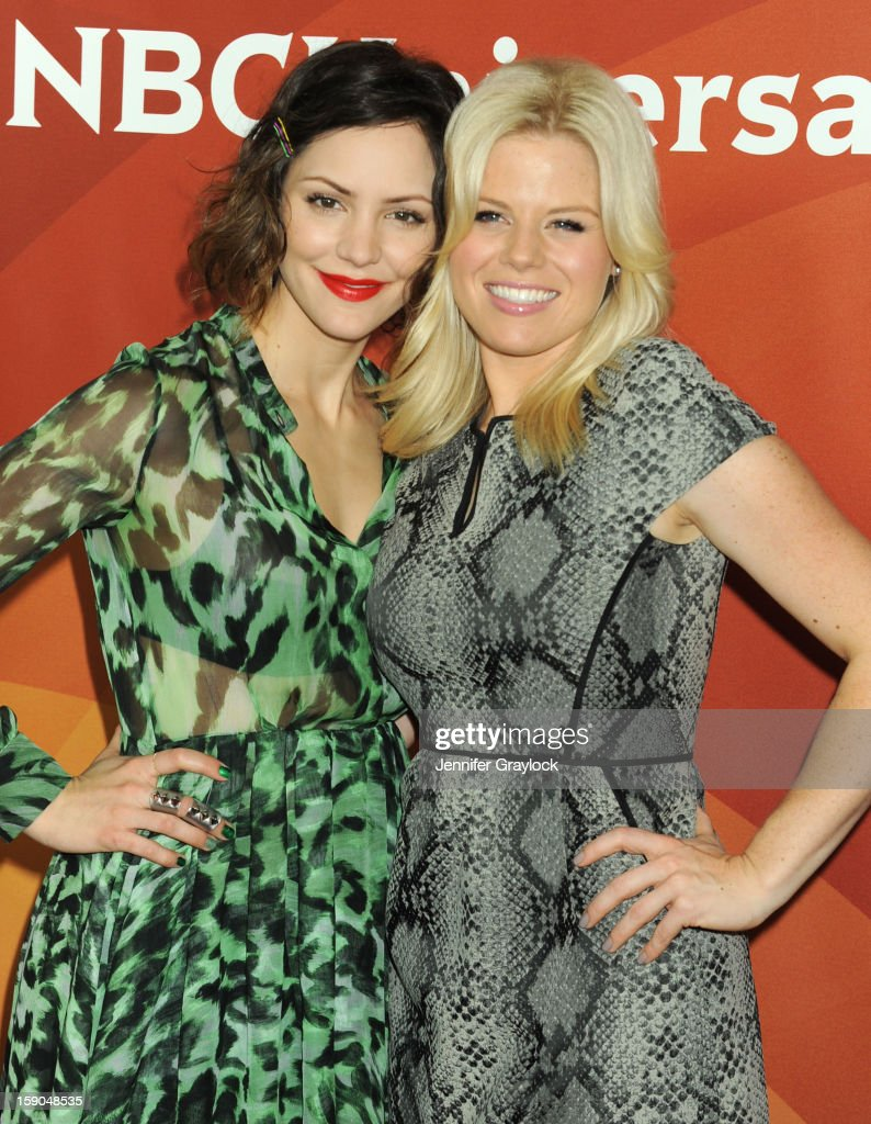 Actors <a gi-track='captionPersonalityLinkClicked' href=/galleries/search?phrase=Katharine+McPhee&family=editorial&specificpeople=581492 ng-click='$event.stopPropagation()'>Katharine McPhee</a> and <a gi-track='captionPersonalityLinkClicked' href=/galleries/search?phrase=Megan+Hilty&family=editorial&specificpeople=602492 ng-click='$event.stopPropagation()'>Megan Hilty</a> attends NBC Winter TCA Press Tour held at the Langham Huntington Hotel and Spa on January 6, 2013 in Pasadena, California.