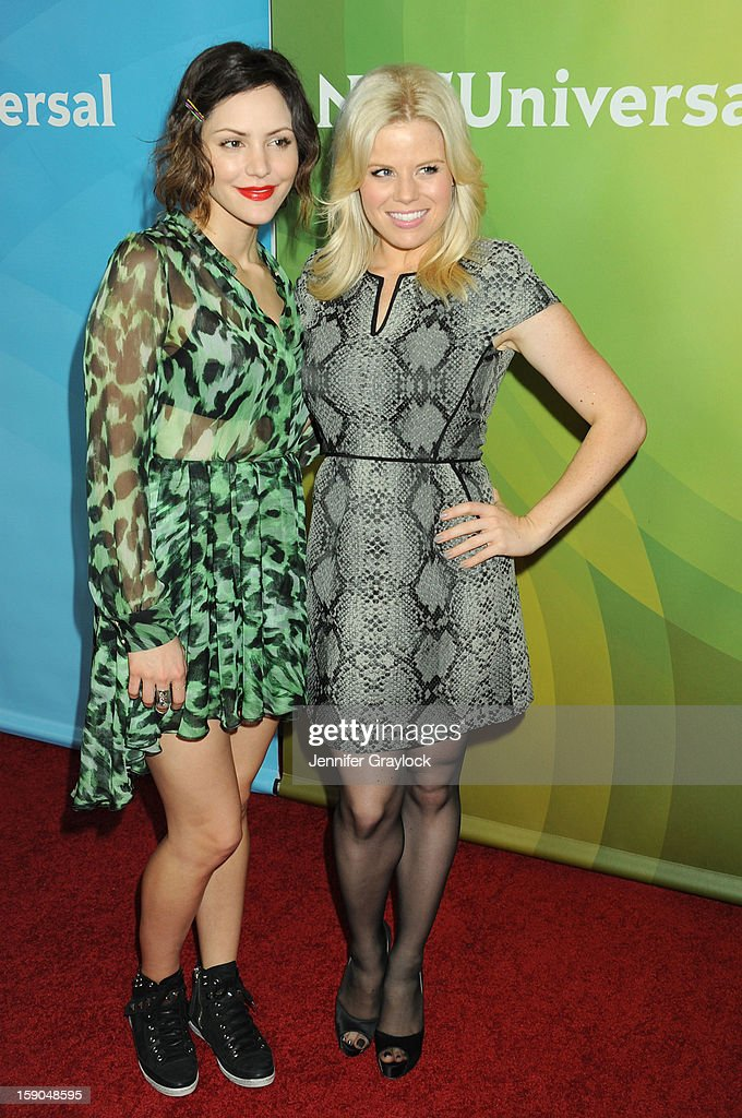 Actors Katharine McPhee and Megan Hilty attends NBC Winter TCA Press Tour held at the Langham Huntington Hotel and Spa on January 6, 2013 in Pasadena, California.