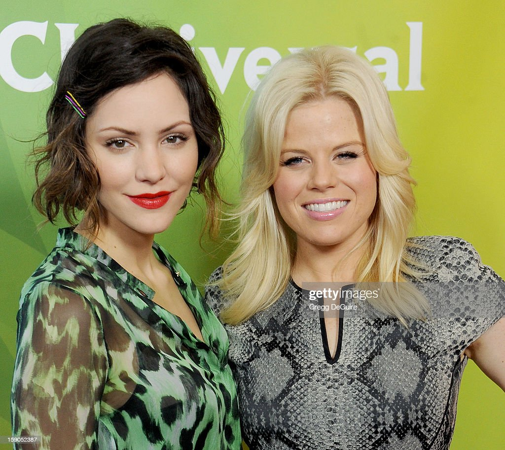 Actors Katharine McPhee and Megan Hilty pose at the 2013 NBC Universal TCA Winter Press Tour Day 1 at The Langham Huntington Hotel and Spa on January 6, 2013 in Pasadena, California.