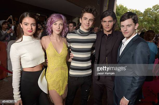Actors Katherine C Hughes Olivia Crocicchia Timothée Chalamet Will Peltz and Travis Tope attend the Gala Screening of Paramount Pictures' 'MEN WOMEN...