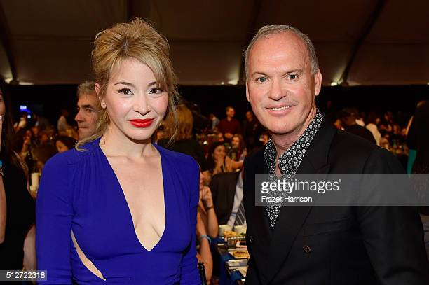 Actors Katherine Castro and Michael Keaton attend the 2016 Film Independent Spirit Awards on February 27 2016 in Santa Monica California