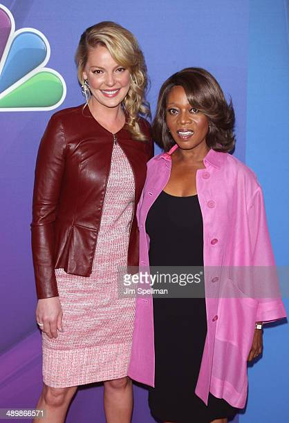 Actors Katherine Heigl and Alfre Woodard from 'State of Affairs' attends the 2014 NBC Upfront Presentation at The Jacob K Javits Convention Center on...