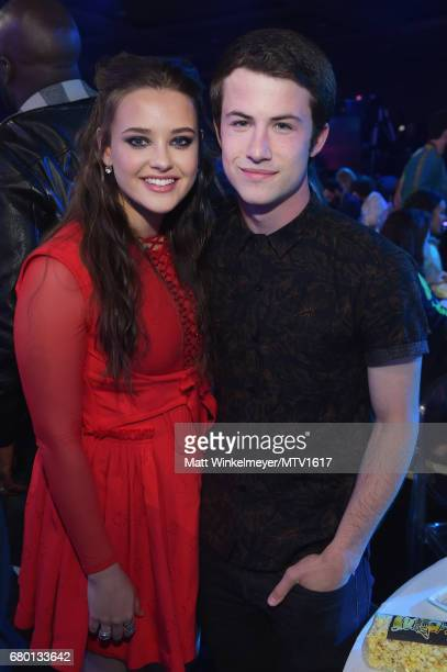 Actors Katherine Langford and Dylan Minnette attend the 2017 MTV Movie And TV Awards at The Shrine Auditorium on May 7 2017 in Los Angeles California