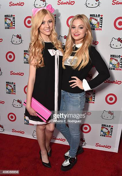 Actors Katherine McNamara and Olivia Holt arrive to Hello Kitty Con 2014 Opening Night Party Cohosted by Target on October 29 2014 in Los Angeles...