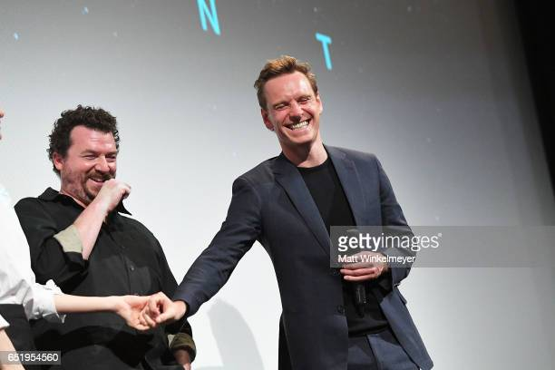 Actors Katherine Waterston Danny McBride and Michael Fassbender attend the 'Alien' premiere 2017 SXSW Conference and Festivals on March 10 2017 in...