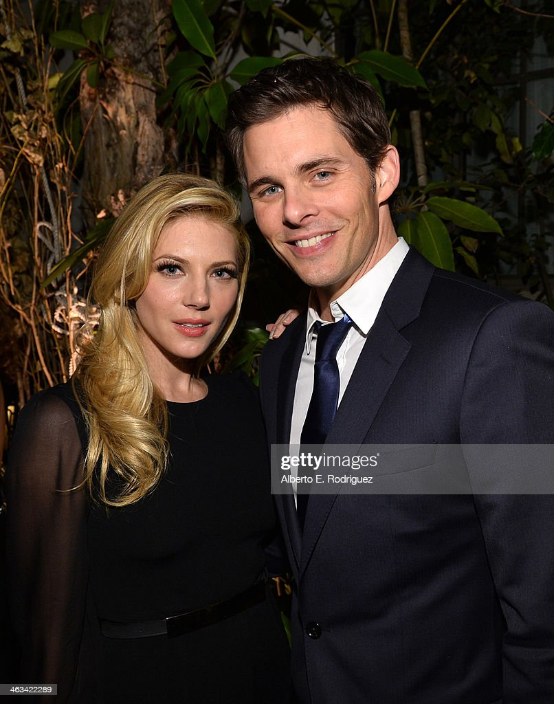 Actors <a gi-track='captionPersonalityLinkClicked' href=/galleries/search?phrase=Katheryn+Winnick&family=editorial&specificpeople=663983 ng-click='$event.stopPropagation()'>Katheryn Winnick</a> (L) and <a gi-track='captionPersonalityLinkClicked' href=/galleries/search?phrase=James+Marsden&family=editorial&specificpeople=206902 ng-click='$event.stopPropagation()'>James Marsden</a> attend the Entertainment Weekly celebration honoring this year's SAG Awards nominees sponsored by TNT & TBS and essie at Chateau Marmont on January 17, 2014 in Los Angeles, California.