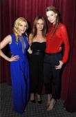 Actors Katheryn Winnick Jessalyn Gilsig and Alyssa Sutherland attend History's 'Vikings' ATAS panel at Leonard Goldenson Theatre on May 13 2014 in...