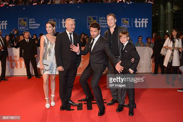 Actors Kathleen Munroe Anupam Kher Gerald Butler director Mark Williams and actor Maxwell Jenkins attend 'The Headhunter's Calling' premiere during...